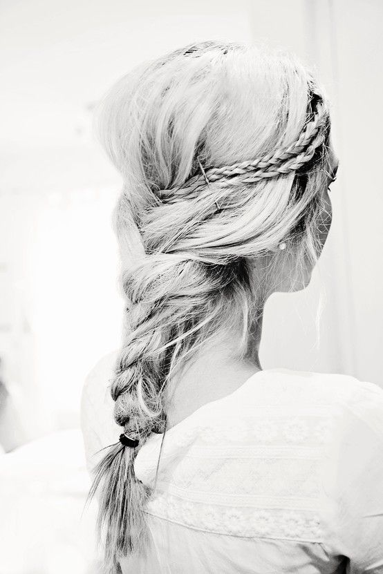Double Mini braids into one, big loose wave braid - so pretty.