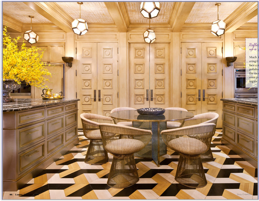 Kelly Wearstler Interior Design, Ariane Bartosh, Marble Pattern Flooring,  High End Kitchen Design