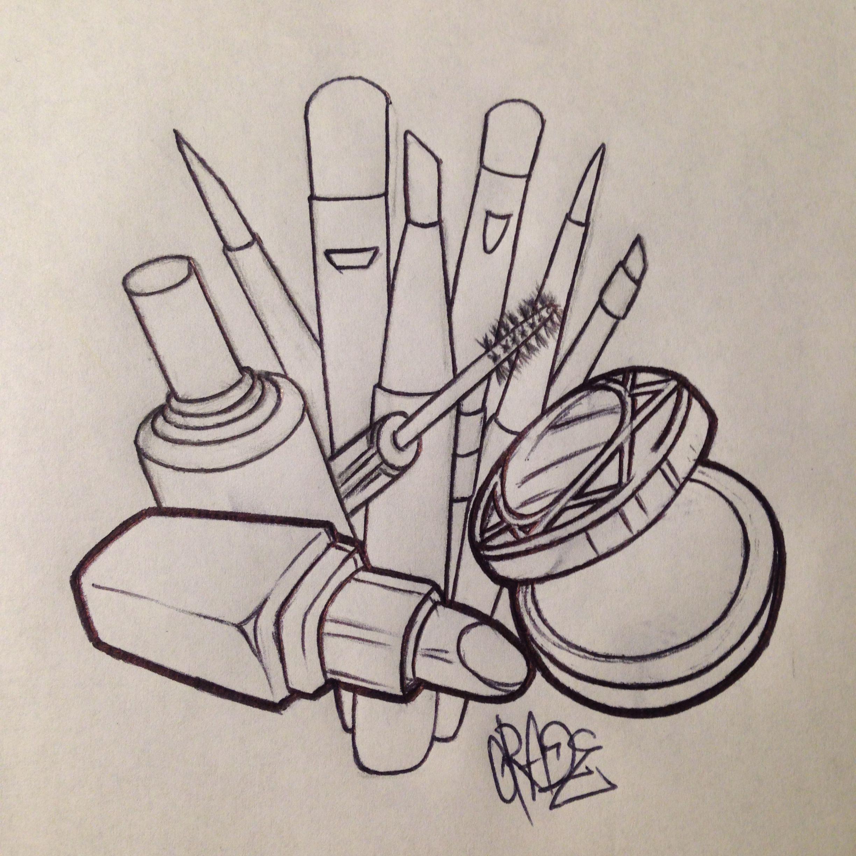 Girly makeup lipstick compact brushes nail polish custom tattoo ...