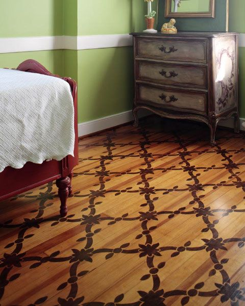 Plywood Floor Stained With A Stencil What Beautiful Idea