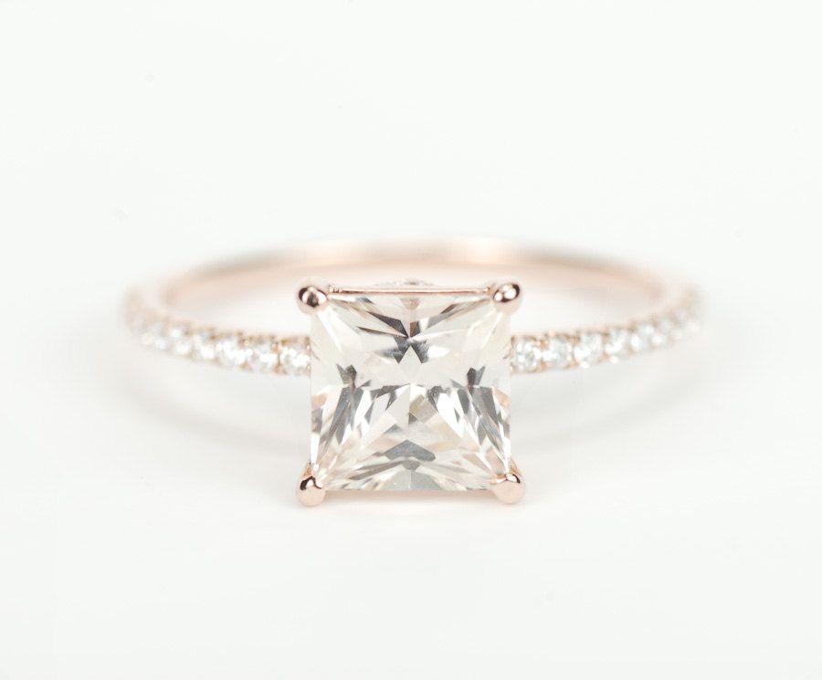 Certified Peach Champagne Square Princess Sapphire Diamond