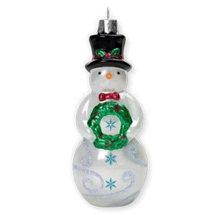 "2010 HALLMARK KEEPSAKE ""TIP - TOP SNOWMAN"" ELEGANT GLASS ..."