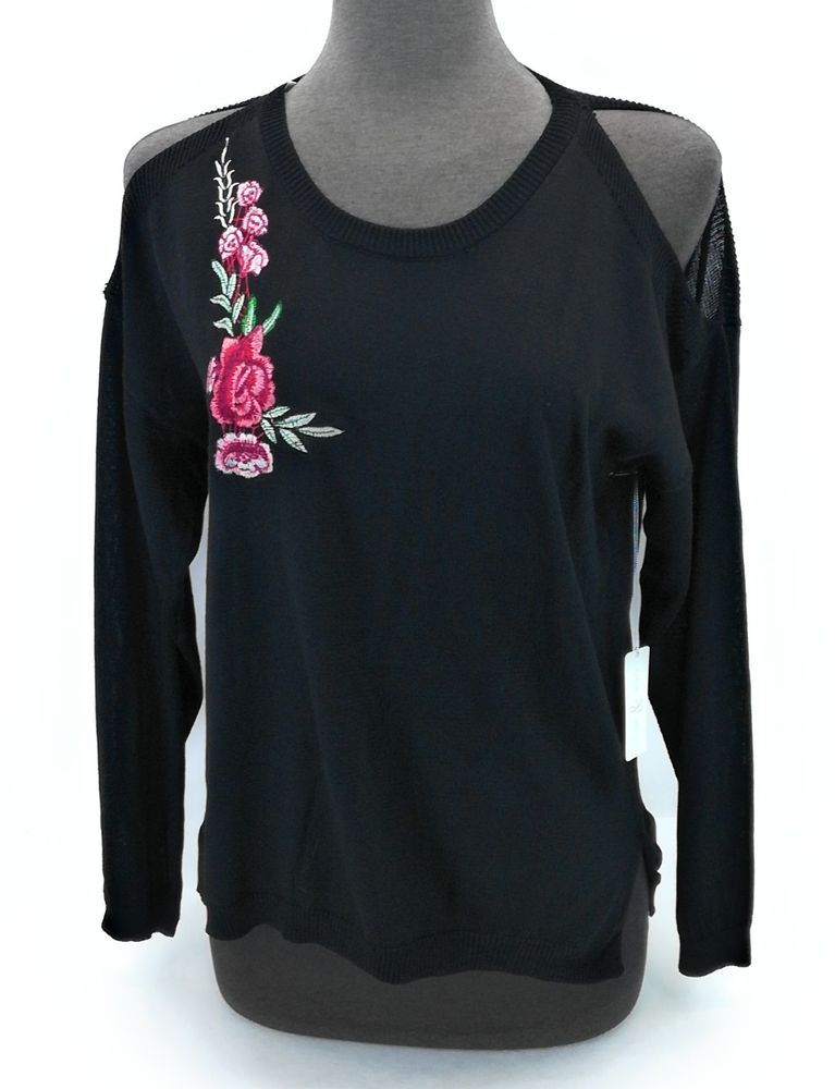 802e130ca7a7c Thyme   Honey Women s Cold Shoulder Long Sleeve Sweater Black Red Flower  Size L  ThymeHoney