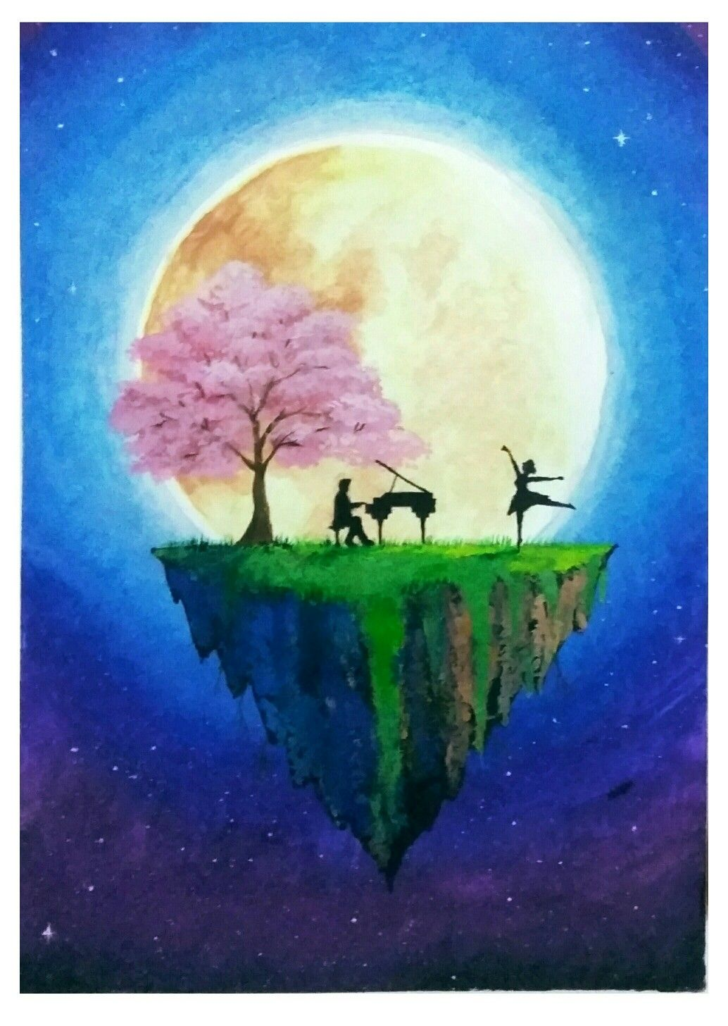 Cherry Blossom In Moonlight Cherry Blossom Painting Moon Painting Painting