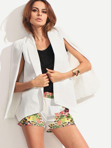 Blazer estilo capa solapa -blanco Colores Blancos 468c8e15fbe8