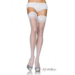 White Black Bride Wedding Sheer Lace Top Thigh High Stockings Nude Red