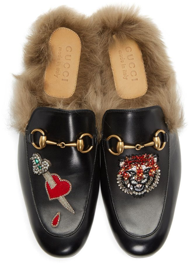 0a88a6e9f Gucci - Black Lion & Pierced Heart Princetown Slip-On Loafers ...