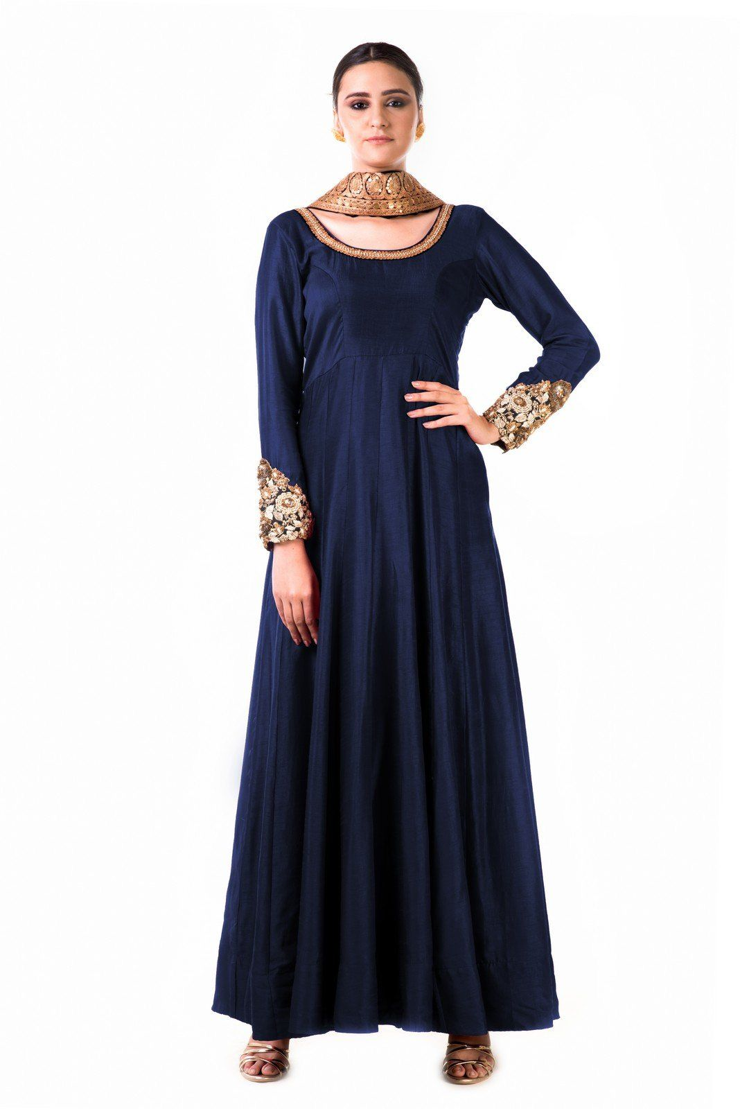 Saris and things blue bemsilk kali dress with a black velvet