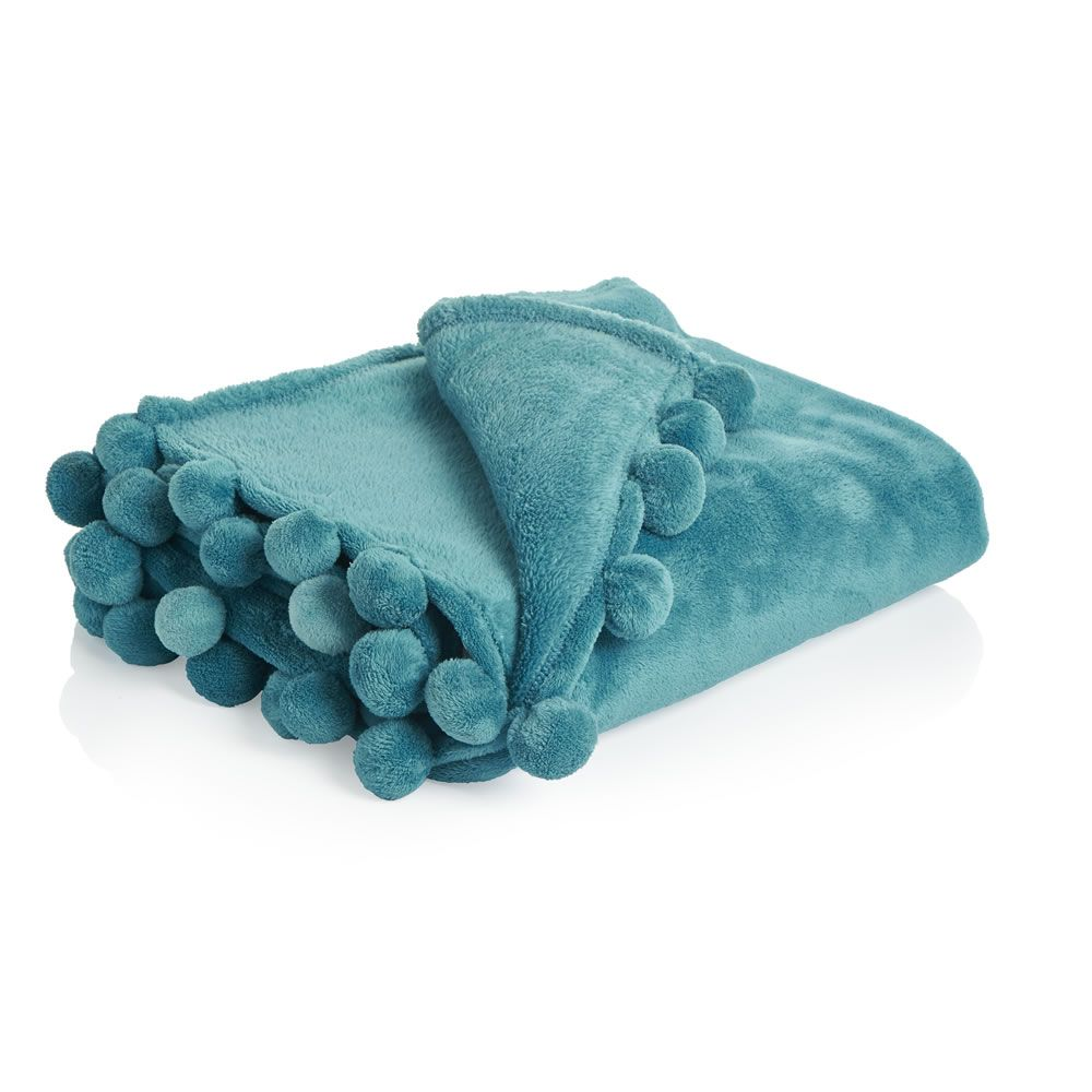 Wilko Pom Throw Teal 150x180 My Home Sofa Bed Throws