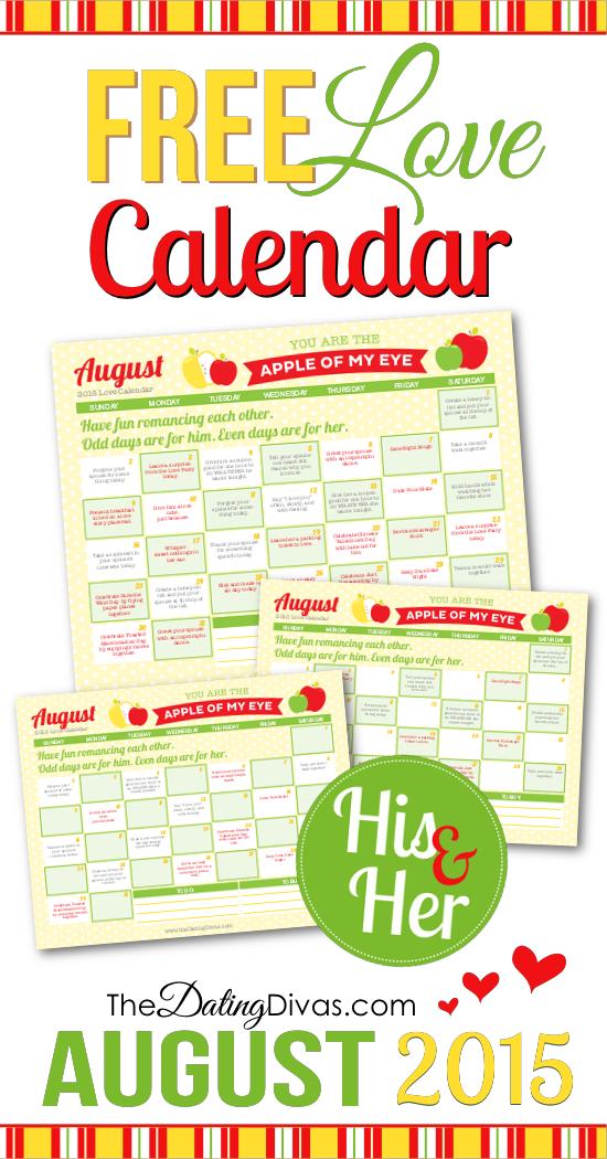 Romantic Calendar Ideas : Free printable august love calendar