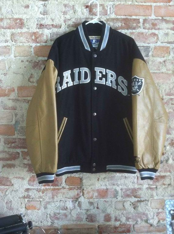 0a5b7939d Vintage 90 s Starter LA Los Angeles Oakland Raiders Leather Varsity Jacket  by CharchaicVintage