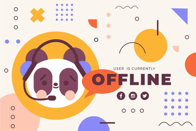 Download Cute Offline Twitch Banner With Panda Bear for