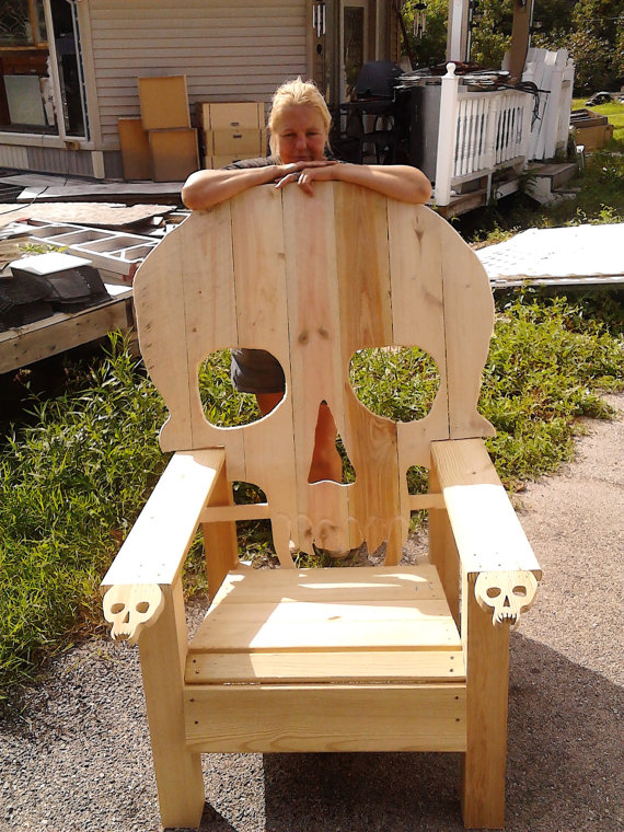 wooden skull chair garden covers b&q adirondack yard furniture solid wood by emmanddoubleyas 129 00