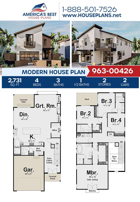 House Plan 963 00426 Modern Plan 2 731 Square Feet 4 Bedrooms 3 5 Bathrooms Porch House Plans House Plans Town House Floor Plan
