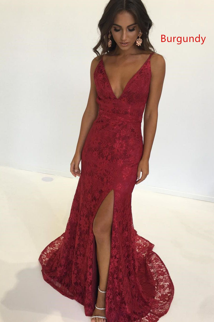 Elegant straps mermaid pink lace long prom dress with backless red
