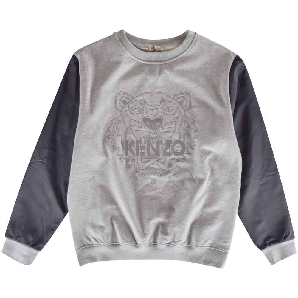 3e3f60b7 KENZO JUNIOR Kenzo Boys Grey Tiger Crew Neck Sweatshirt - Junior from…