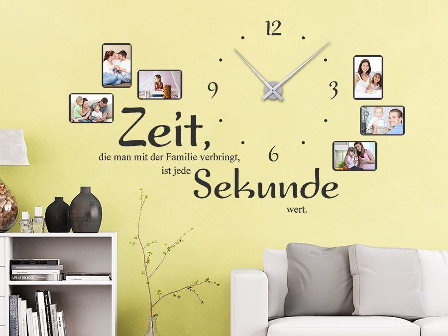Uhr Familienzeit mit Fotorahmen | Wandtattoo uhr, Fotorahmen und ...