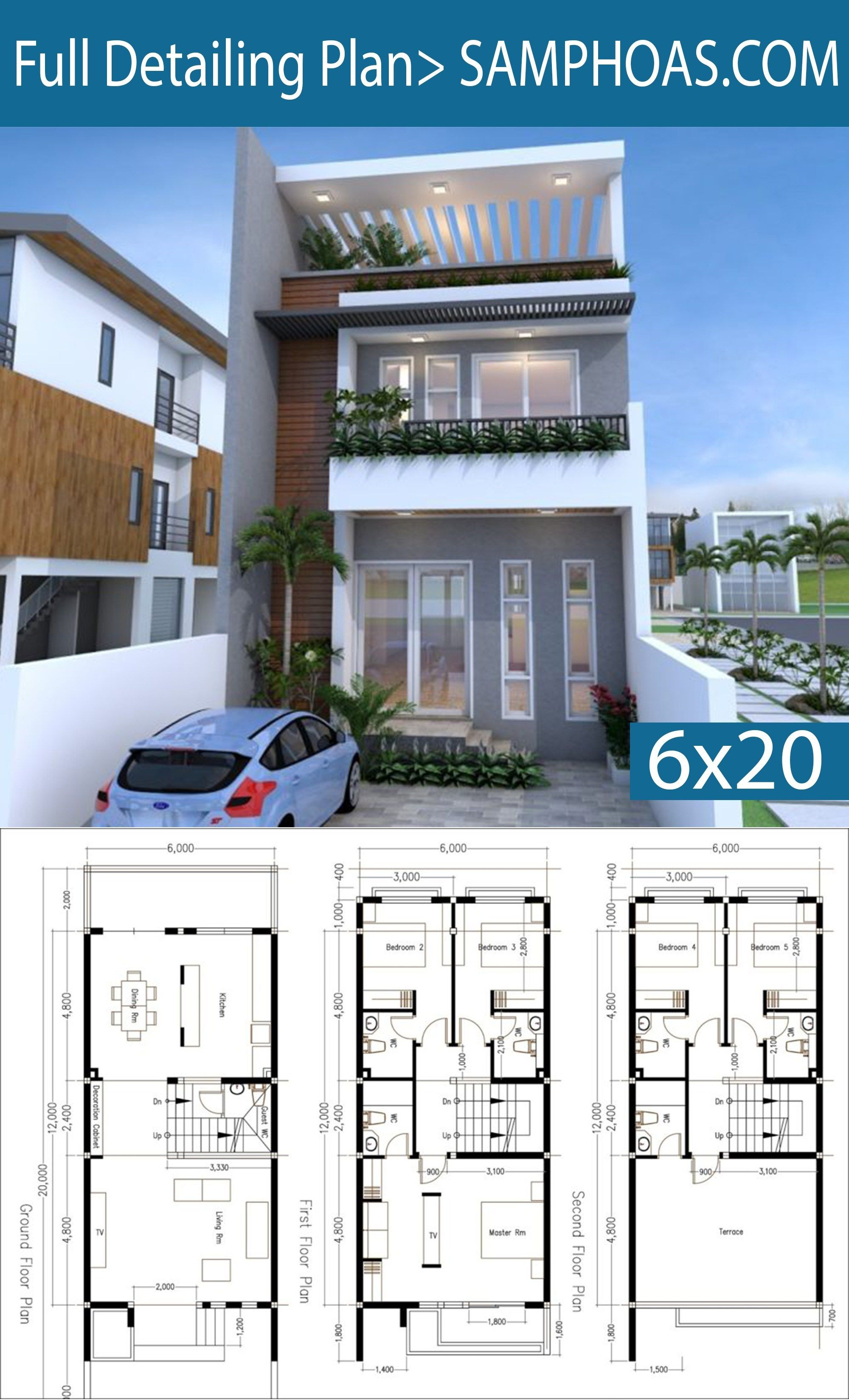 5 Bedrooms Modern Home Plan 6x12m This Villa Is Modeling By Sam Architect With 3 Stories Level It S Has Narrow House Plans Model House Plan Duplex House Plans