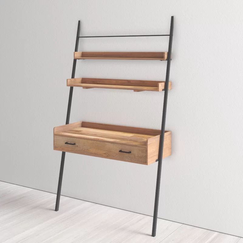 Harton Leaning Ladder Desk In 2020 Wood Ladder Ladder Desk Solid Wood