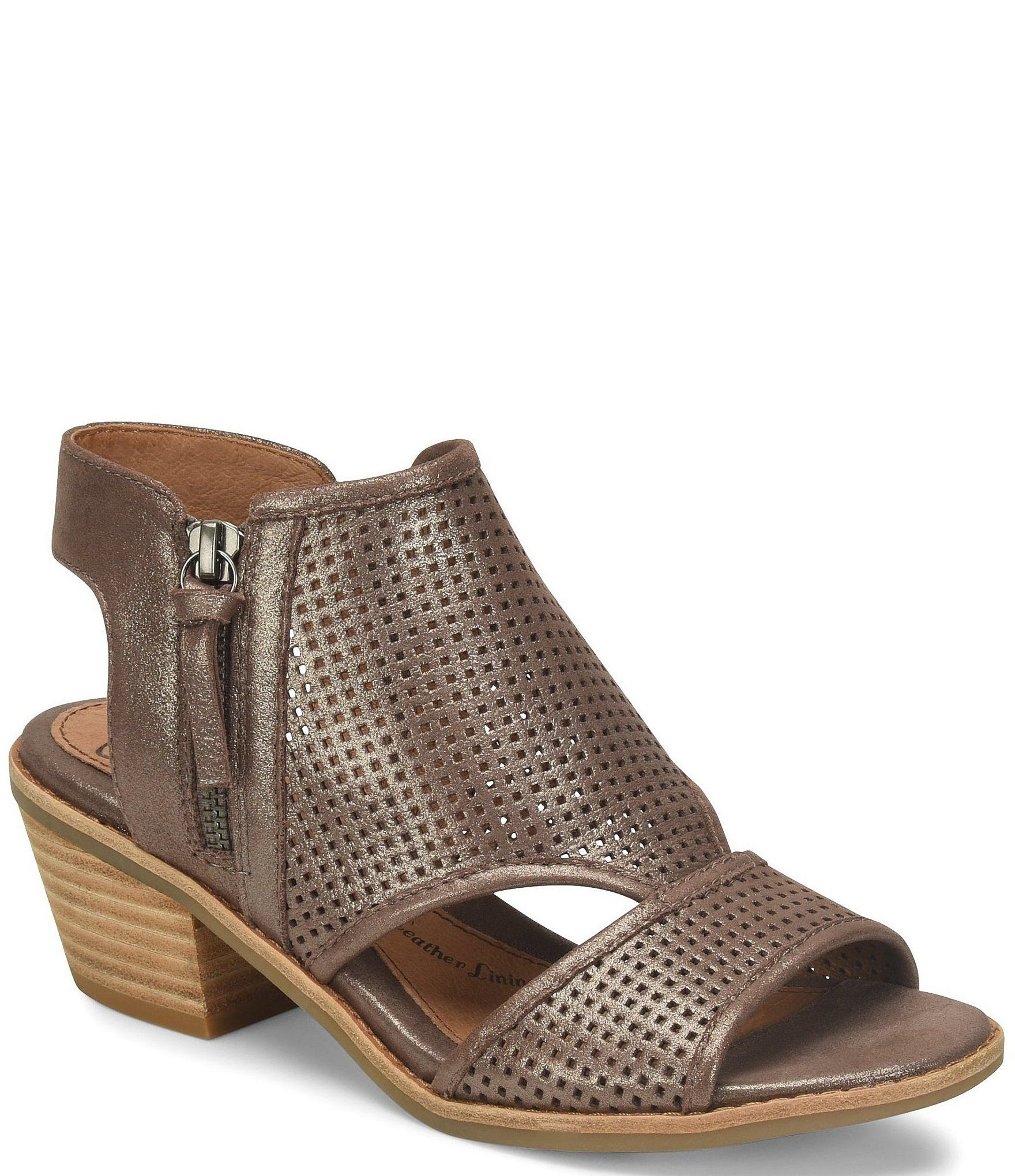 Sofft Sara Perforated Metallic Leather Stacked Heel Sandals - 6M