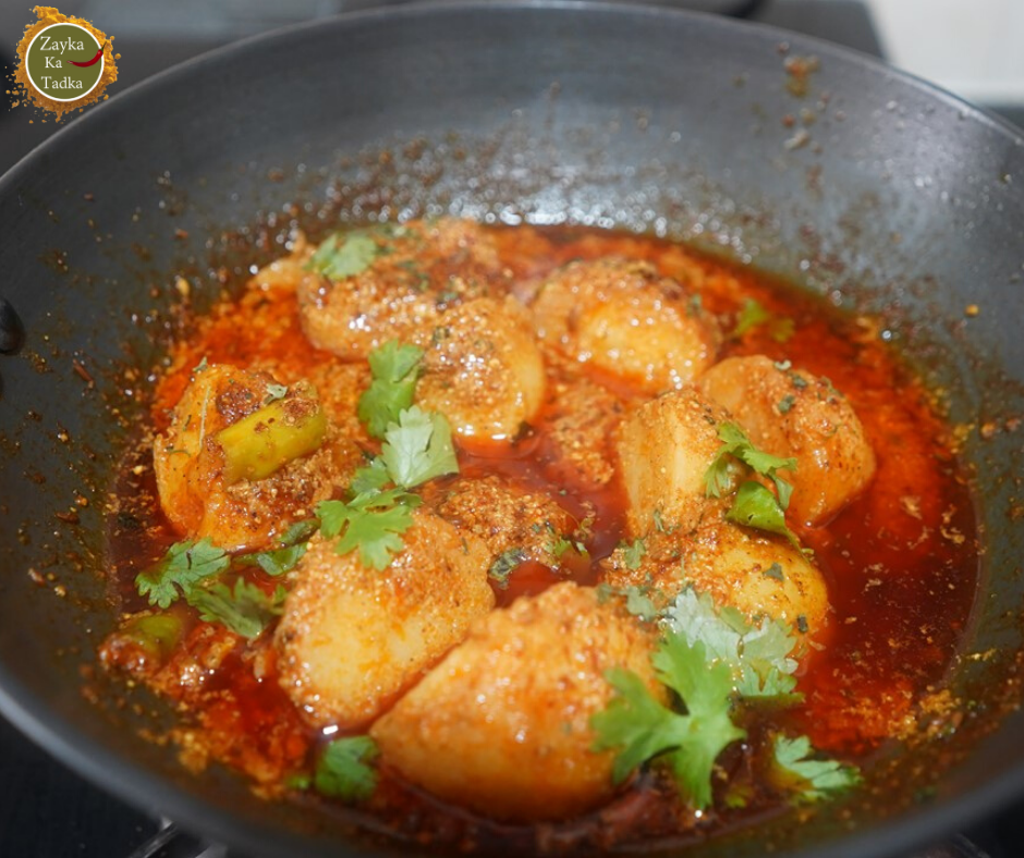 kashmiri dum aloo is a lip smacking curry of potato this uses potatoes which are cooked in the on hebbar s kitchen recipes dum aloo id=27699