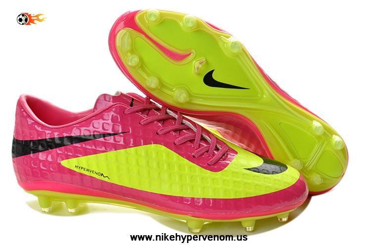 low priced 3ef42 e5401 Fluorescent Green Pink Nike HyperVenom Phantom FG TPU Boots Football Boots