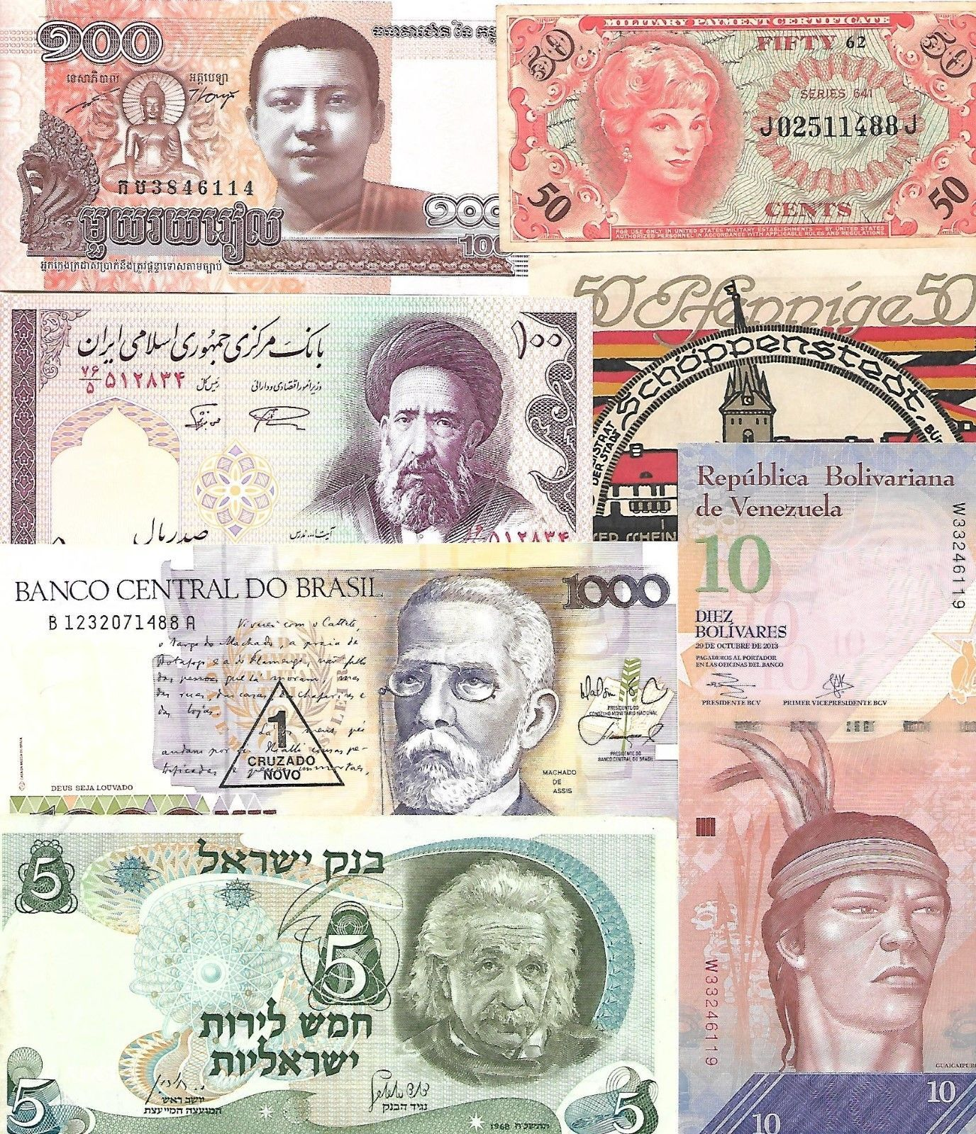 Lot Of 71 World Banknotes Circ Unc Nice Look