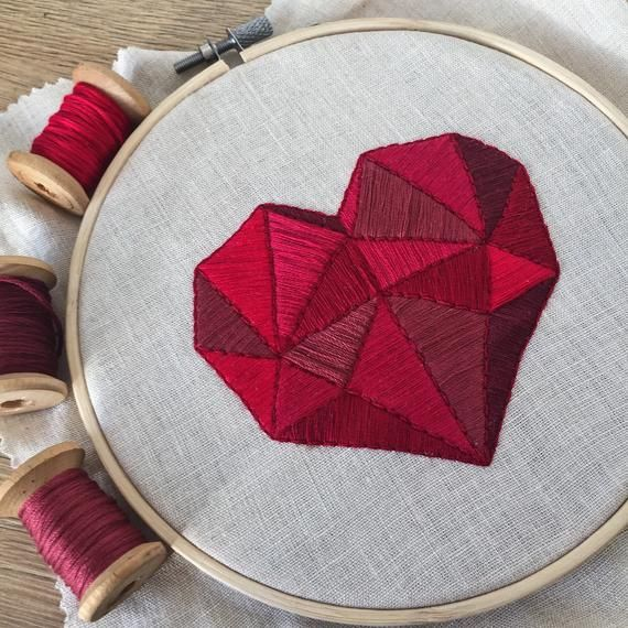 Polygon Heart Embroidery Pattern Gift for Her  Lovely Heart | Etsy