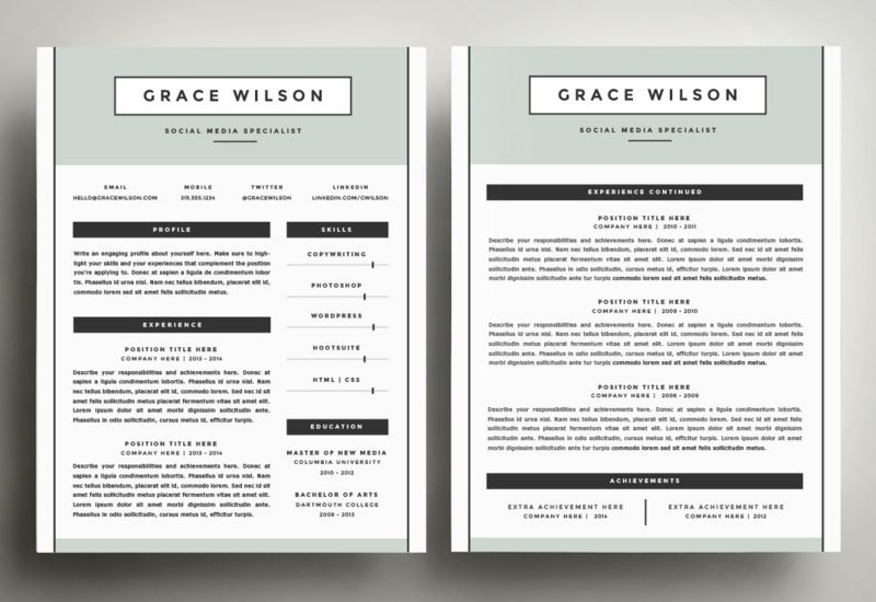 50 best cv resume templates 2020 one page resume