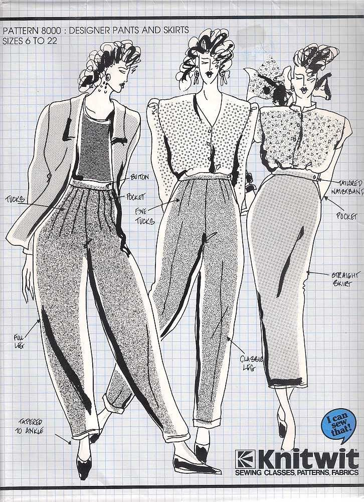 Knitwit pattern 8000 designer pants and skirts, sewing pattern ...