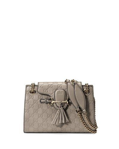 2626f789d Gucci Emily Guccissima Leather Chain Shoulder Bag Storm Gray Leather ...