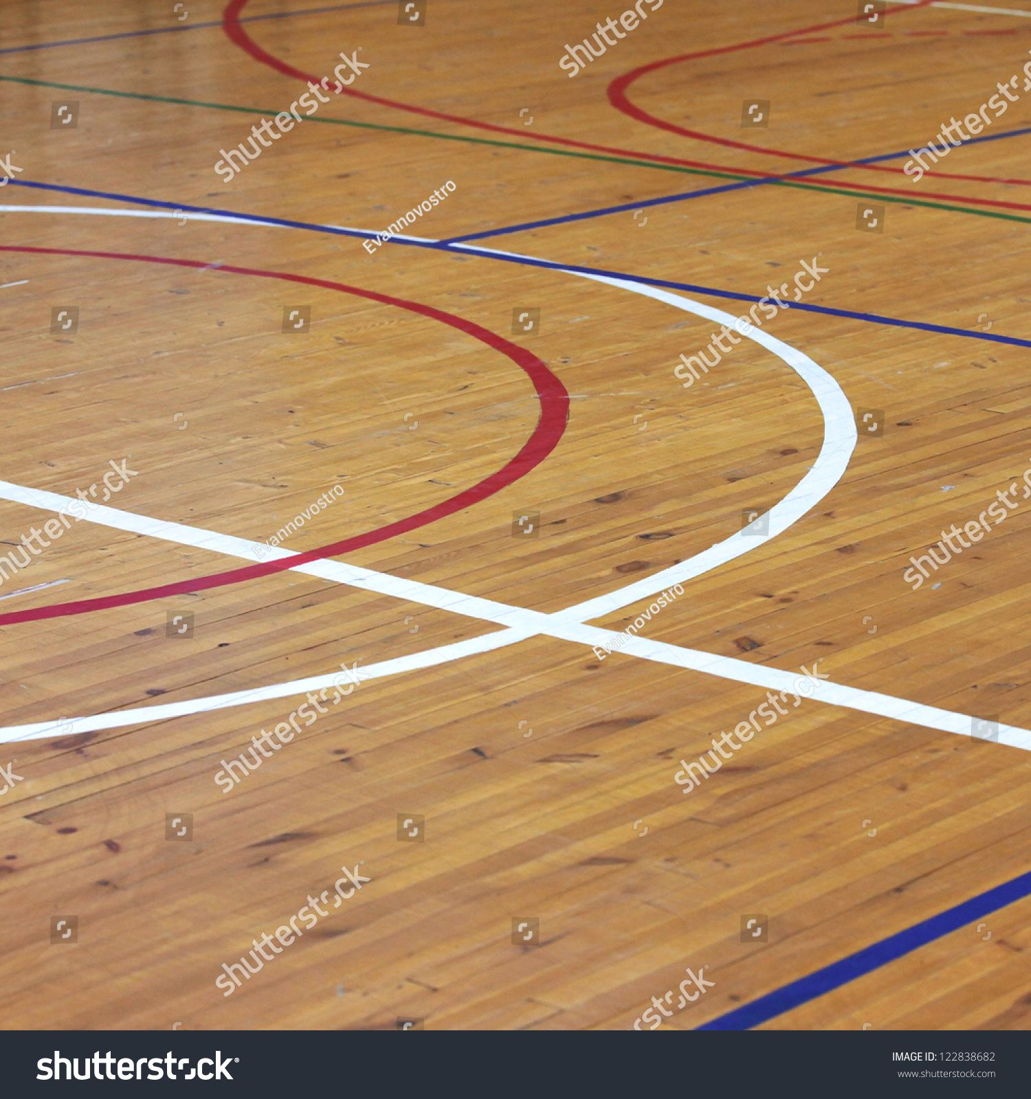 Wooden Floor Of Sports Hall With