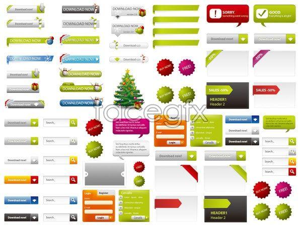 Buttons balls angle Web design elements vector | WEBSITE ...
