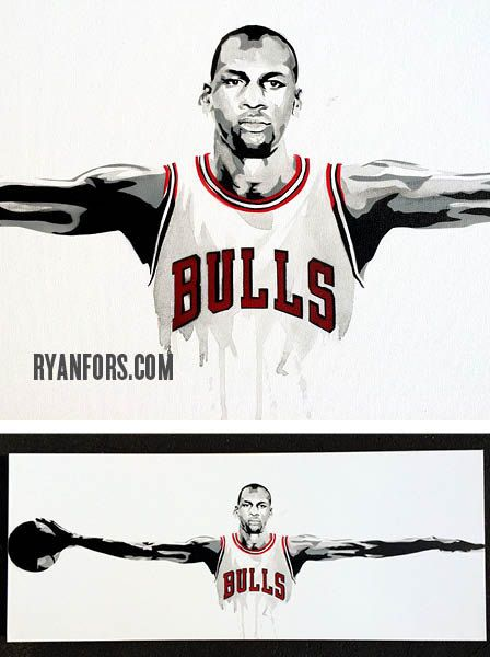 Michael Jordan Wings Chicago Bulls Painting by RyanForsDesign ...