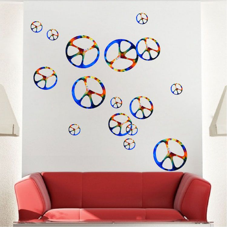 Hippie Peace Signs Wall Decal - Sixties Wall Decal Murals - Primedecals  sc 1 st  Pinterest & Hippie Peace Signs Wall Decal - Sixties Wall Decal Murals ...