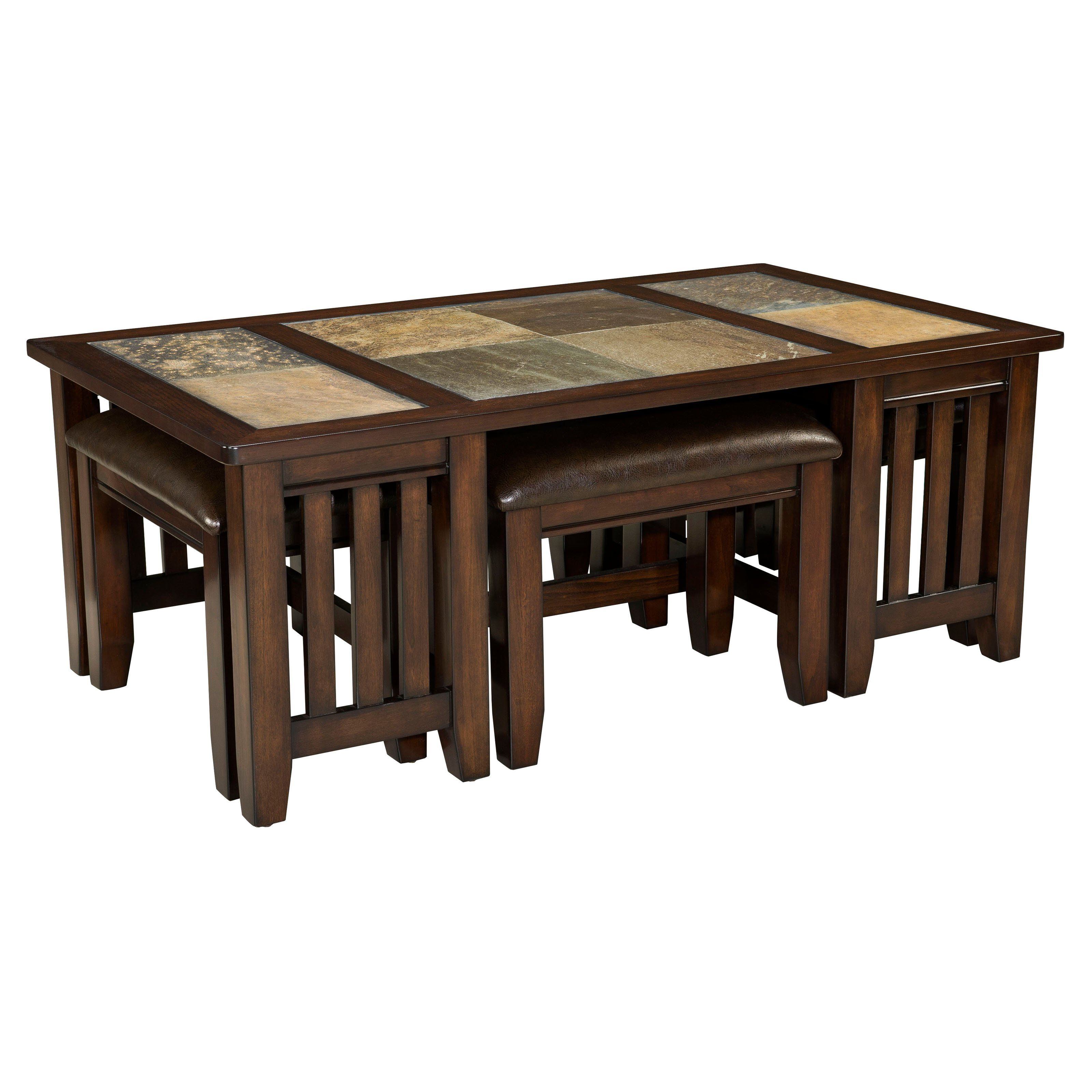 Standard Furniture Napa Valley Rectangle Wood And Stone Top Coffee Table With 4 Stools Www Hayneedle Co Dark Wood Coffee Table Coffee Table Coffee Table Wood [ 3200 x 3200 Pixel ]