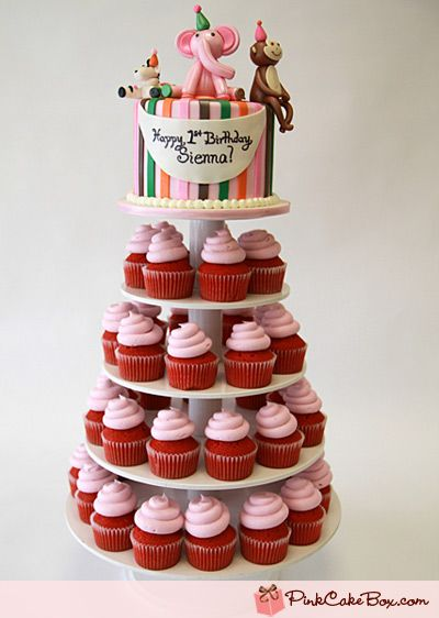 Love The Idea Of A Smash Cake On Top With Cupcakes Cake And
