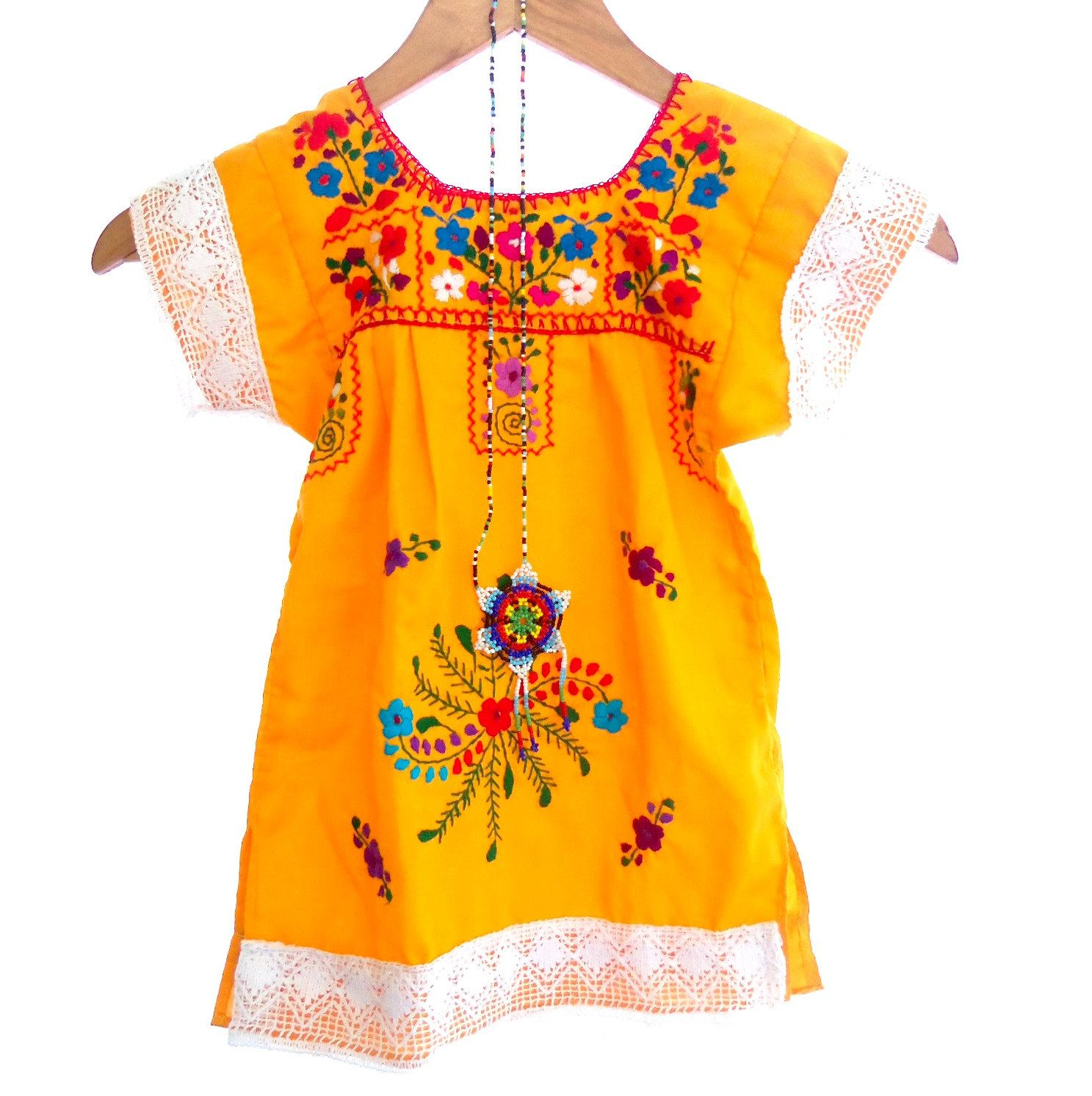 Marisol Yellow Mexican Embroidered White Crochet Baby Dress Valentina [ 1492 x 1487 Pixel ]