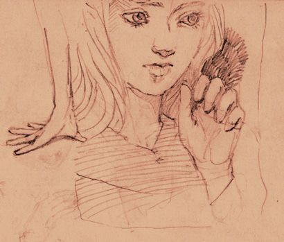 Thinking girl (image)