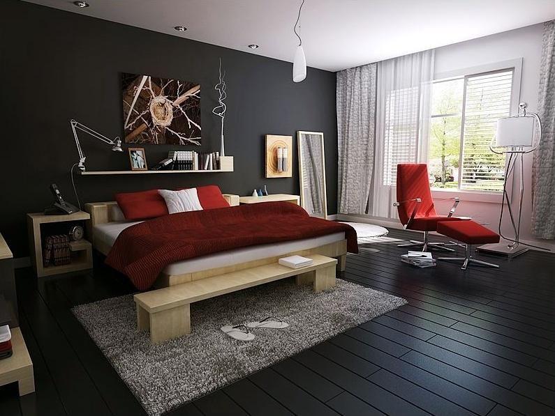 Best Modern Bedroom With Dark Floor Bachelor Pad 400 x 300