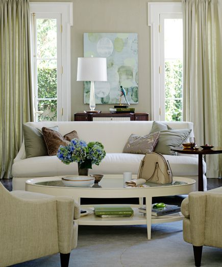 Barbara Barry Realized By Henredon Living Room Featuring The Bowmont Sofa Cabochon Tail Table