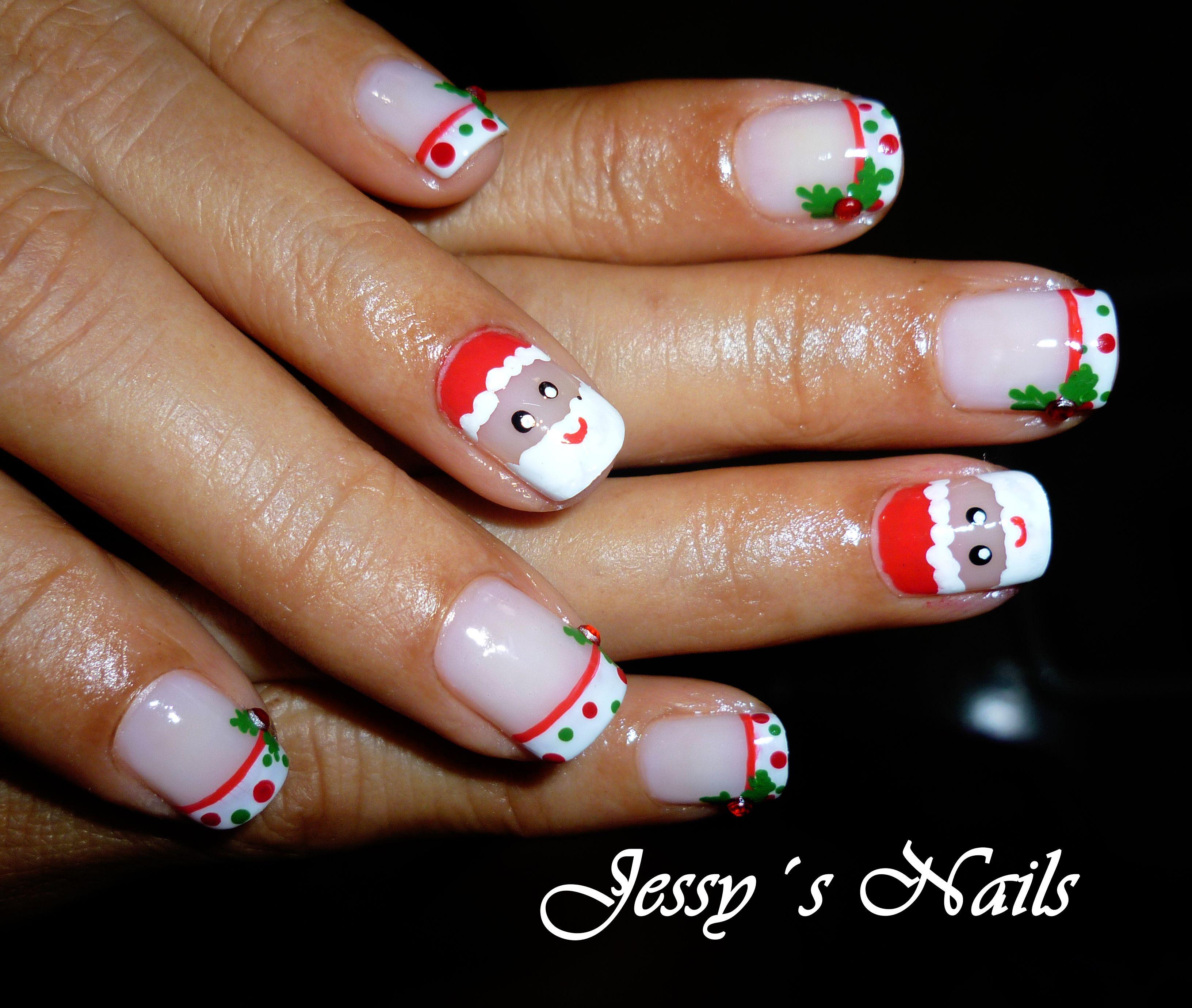 Uñas Decoradas Con Santa Claus Uñas Navideñas Nailart
