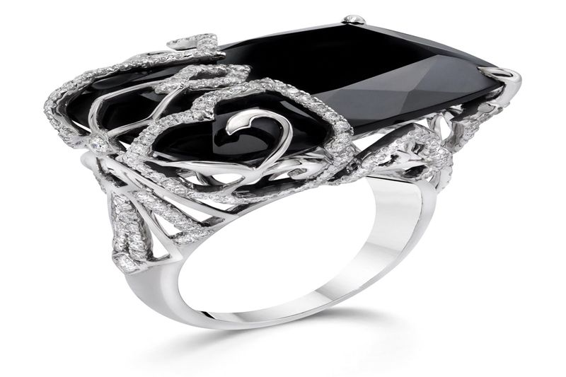 fabulous stephen webster alchemy in the uk band ring set in sterling silver with onyx detailing - Black Onyx Wedding Ring