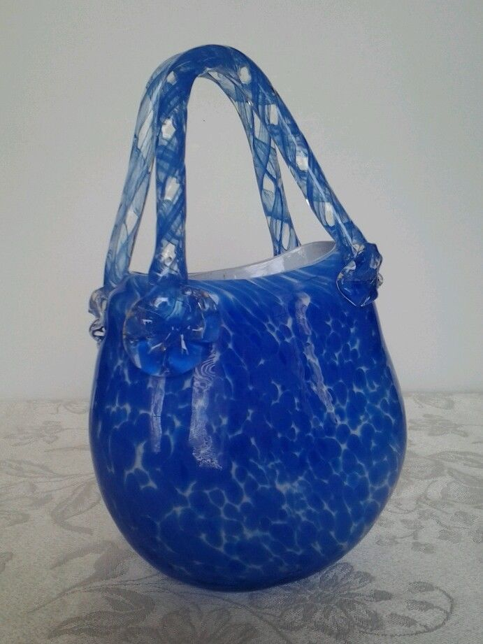Murano Style Art Glass Purse Vase Blue White Hand Blown Fab