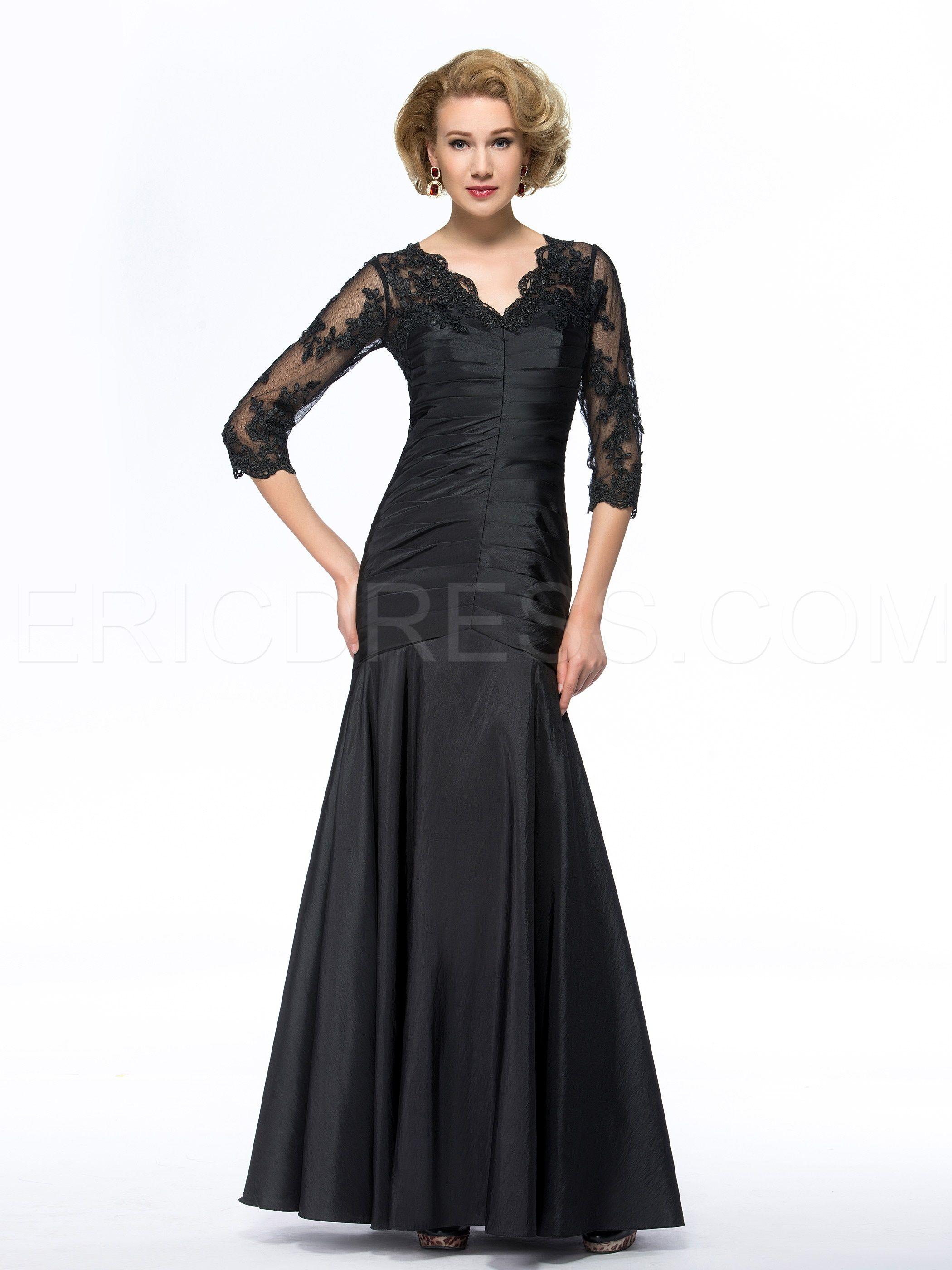Mothers dresses for a wedding  Vintage VNeck Appliques Ruched Length Long Sleeves Mother of