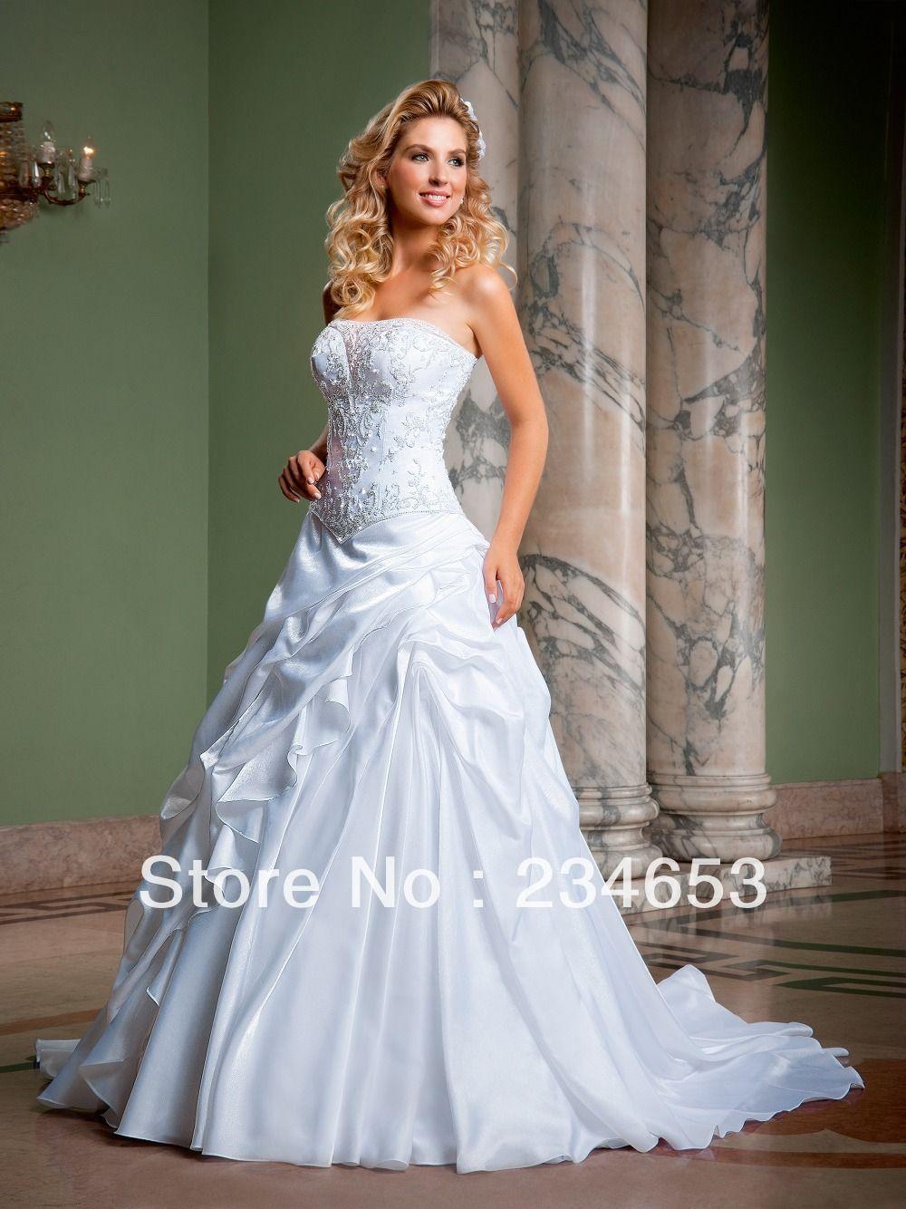 Vestido de de noiva 2014 strapless una línea de satén de novia ...