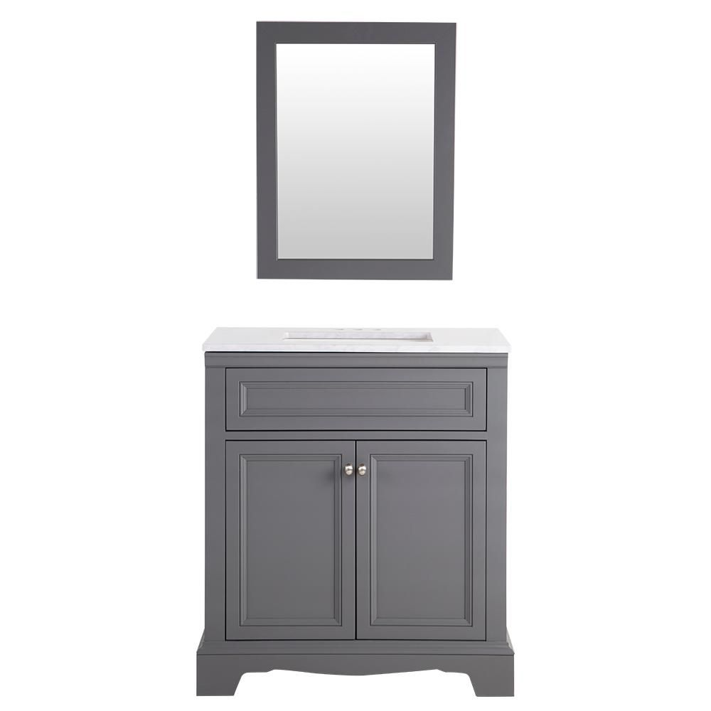 Home decorators collection winslow 22 in w corner linen - For Downstairs Bath Home Decorators Collection Windsor Park In W Vanity In Graphite With Stone Effects Vanity Top In Carrera With White Basin And Mirror