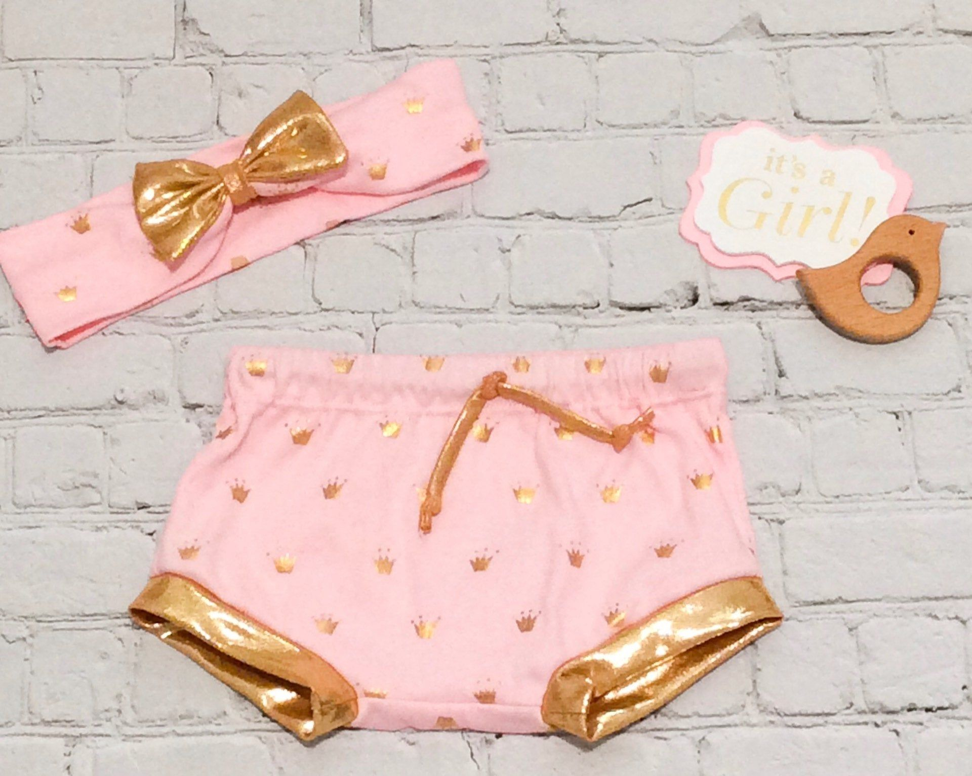 Pink and Gold Baby Girl Princess Shorts and Heaband Bow CLEARANCE Pink and Gold Baby Girl Princess Bummies