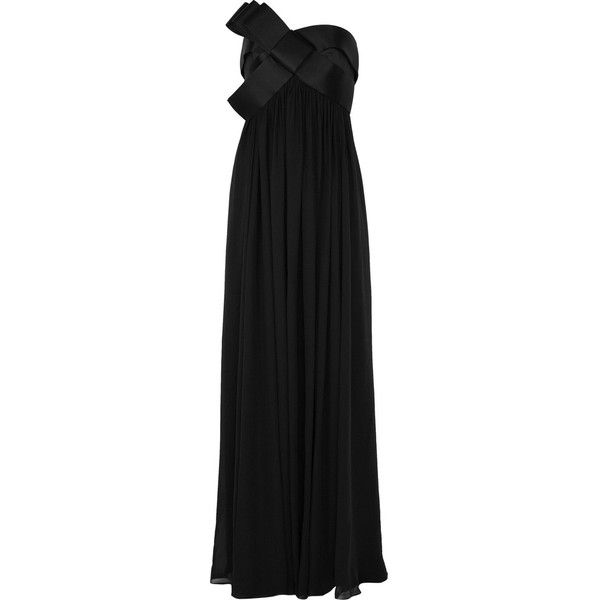 Notte by Marchesa Bow-embellished silk-chiffon gown (€915) ❤ liked on Polyvore featuring dresses, gowns, vestidos, vestiti, long dresses, women, black strapless gown, black strapless evening gown, black corset en long black evening dress