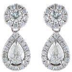 Pear Shape & Round Brilliant Cut 0.78 ctw VS2 Clarity, I Color Diamond 14kt White Gold Tear Drop Earrings